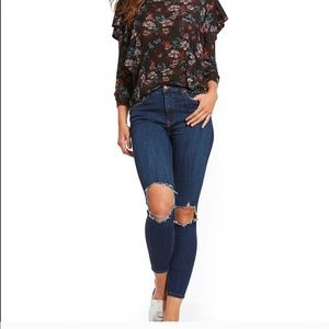 NWOT. Free People high rise  busted knee jeans